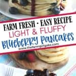 Start your morning off with a delicious batch of Blueberry Buttermilk Pancakes from scratch. This light and fluffy blueberry pancake recipe is perfect for blueberry season or all year round. Top this easy blueberry pancake recipe with homemade blueberry sauce for some extra blueberry flavor. Your family will love this easy buttermilk pancake recipe from scratch.