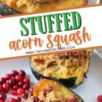 Roasted Acorn Squash with Cornbread Sausage Stuffing is a perfect recipe for Thanksgiving and fall. Fresh cranberries, cornbread and sausage round out this easy acorn squash recipe. This sausage stuffed acorn squash makes an easy fall main dish or delicious holiday side. Also, you'll learn how to cook acorn squash. Try this baked acorn squash recipe for dinner.