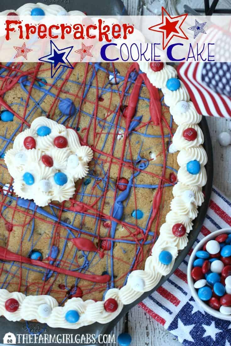 Three cheers for the red, white and blue. This Firecracker Cookie Cake recipe is a perfect way to celebrate our patriotism and honor the members of our military. This easy dessert recipe is perfect for a summer celebration. AD #CelebrateWithM