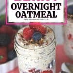 Oatmeal in a jar? Sign me up! Wake up in the morning to a delicious and healthy Berry Overnight Oatmeal. This overnight oats recipe is satisfying, delicious and filled with fresh berries. Try this easy mason jar recipe for breakfast.