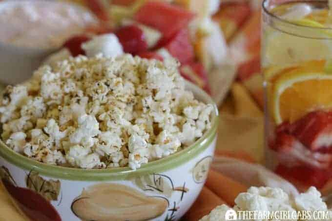 5 Healthy Party Snack Ideas.. Zesty Italian Popcorn