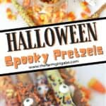 It's all treats and no tricks this Halloween. Scare up some spooky fun at Halloween with these Eye Of Newt Halloween Pretzels. This easy chocolate covered pretzel recipe is fun to decorate for Halloween. These Halloween treats are perfect to share for classroom party idea or enjoy with family and friends. No fancy ingredients are needed for this easy Halloween snack.