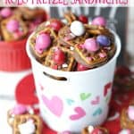 A little bit sweet, a little bit salty and oh so good! These Valentine ROLO Pretzel Sandwiches are a sweet treat for Valentine's Day. #Snacks #ValentinesDay #ROLOPretzels #Dessert