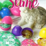 Hippity Hoppity, the kids will go crazy for these fun Easter Egg Glitter Slime Party Favors! Make a batch of this slime for your Easter Celebration. #Slime #Easter #Kids #SlimeRecipe #Crafts #PartyIdea