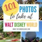 Ready for the ultimate Disney Photo Bucket List? I gathered some Disney photograph inspiration with these 101 Photos To Take At Walt Disney World. These helpful Disney photo tips are a great way to create a memorable Disney World Vacation. Download the free printable Disney photo checklist to take with you. #disneyworld #disneyphototips #disneyphotography