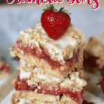 These Strawberry Rhubarb Oatmeal Bars are the perfect summer dessert! Strawberries and rhubarb pair perfectly together in this tasty bar recipe. This strawberry rhubarb bar recipe has a delicious oatmeal cookie topping. #strawberryrhubarb #barrecipe #strawberrydessert #strawberryrhubarbrecipes