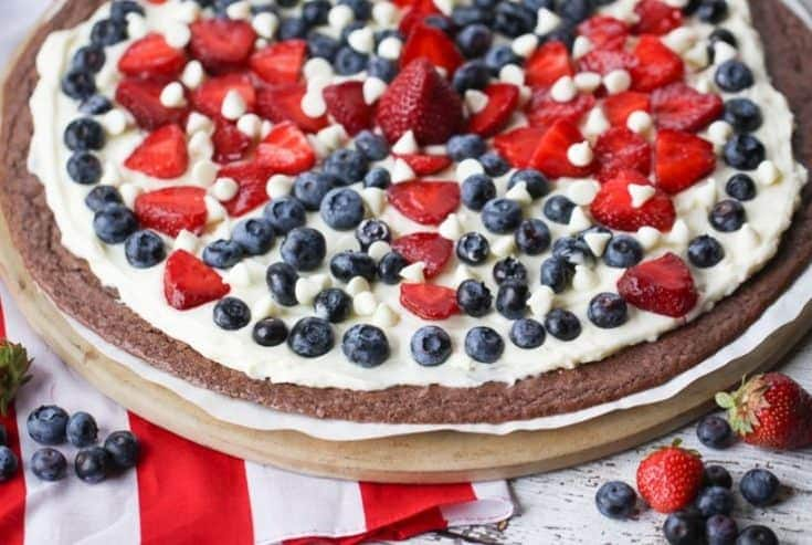 Star Spangled Brownie Pizza 4th of July Dessert Recipe