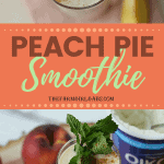 Start your morning off with this nutritious and delicious farm fresh Peach Pie Smoothie recipe. #smoothie #peachpie #drinkrecipes #smoothierecipes