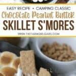 Chocolate Peanut Butter Skillet S'mores are an updated twist of the campfire classic s'mores recipe. This recipe has the perfect amount of chocolate and peanut butter. If you want all the delicious flavor of s'mores without the campfire, then you need to make this Chocolate Peanut Butter Skillet S'mores recipe. It is the perfect camping recipe to make indoors.
