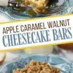 Apple season calls for easy fall recipes. These Apple Caramel Walnut Cheesecake Bars are a family favorite. This apple recipe starts with a shortbread crust and is topped with a cheesecake layer then loads of fresh apples, walnuts and caramel. Grab a cup of coffee and dig into this tasty fall dessert.