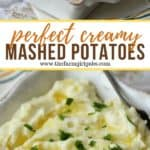 Mashed potatoes are the perfect side dish for meat or poultry. This easy recipe is creamy, buttery and oh so good. This mashed potatoes recipe is a great Thanksgiving side dish too. Super easy and even has a secret ingredient to make this potato recipe extra creamy. Your family will definitely want seconds. #mashedpotatoes #thanksgivingsidedish #potatorecipe