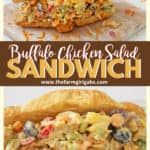 This buffalo chicken salad sandwich is so tasty! Packed with chicken fruit and veggies, It's the perfect sweet and spicy sandwich recipe for lunch or dinner. #buffalochicken #sandwich #buffalochickenrecipe #lunchidea
