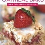 These Strawberry Rhubarb Oatmeal Bars are the perfect spring dessert! Strawberries and rhubarb pair perfectly in this easy bar recipe. This strawberry rhubarb bar recipe has a delicious oatmeal cookie topping.
