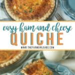 Ham And Cheese Quiche is an easy recipe for breakfast, Sunday brunch, lunch or dinner. With only 15 minutes to prepare, quiche is a versatile recipe everyone will love. #hamandcheesequiche #quicherecipe #brunchrecipe