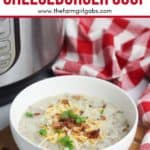 Warm up with a comforting bowl of this tasty Instant Pot Cheeseburger Soup. This hearty Instant Pot soup recipe is made from scratch and ready in no time. #instantpotrecipe #soup #cheeseburgersoup