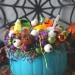 This DIY Teal Pumpkin Treat Holder is all treats and no tricks. Trick or Treaters will love this teal pumpkin filled with non-candy treats.
