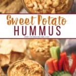 Add a delicious fall twist to a traditional hummus recipe. This Sweet Potato Hummus recipe is a tasty appetizer or snack. #hummus #easyappetizer #sweetpotatorecipe