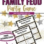 Ring in the New Year with this fun New Year's Family Feud Game you can play at home. See which family member can guess the best answer. The Free New Year Printable is a fun New Year's Eve Party Game the whole family can play. Download this fun family game and have fun ringing in the New Year.