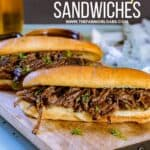 These flavorful Easy Crock Pot French Dip Sandwiches are a family favorite. Top them with provolone cheese and serve with a side of au jus. This Slow Cooker French Dip Sandwich recipe is perfect for a weeknight meal or to serve at a game day party or casual get together. This is an easy sandwich recipe that everyone will enjoy. #frenchdip #slowcookerrecipe #crockpotrecipe #slowcookerfrenchdip
