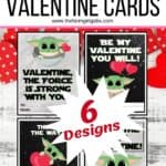 """These Free Printable Mandalorian Baby Yoda Valentines are out of this world. If you are a fan of """"The Child"""" or Baby Yoda from the Disney Plus Series The Mandalorian, then this is the perfect Valentine's Day Craft to share. Download and share with friends this Valentine's Day. I have spoken. #babyyoda #valentines #starwarscraft #freeprintablevalentines #kidscraft #disneyplus #Disney+ #themandalorian"""