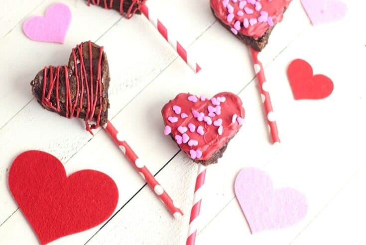 These heart-shaped Valentine Brownie Pops are an easy holiday treat. They are an easy chocolate dessert to make for Valentine's Day or all year long.