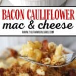 Ready for a twist on the classic mac and cheese recipe? Bacon Cauliflower Macaroni and Cheese is the ultimate comfort food. Creamy macaroni and cheese are mixed with flavorful bacon and farm fresh cauliflower. This twist on the classic macaroni and cheese is easy and delicious! #macaroniandcheese