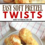 Craving a salty snack? Whip up a batch of these Easy Homemade Soft Pretzel Twists. This easy snack recipe won't last long. This basic pretzel dough can be be shaped into twists, knots, bites or the classic pretzel shape.