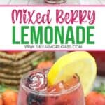 This Refreshing Mixed Berry Lemonade recipe is made with fresh summer berries and fresh-squeezed lemonade. Pull up a chair and enjoy a glass of this lemonade recipe. This summer mocktail can easily be made into a summer cocktail by adding some bourbon to the recipe for a Berry Bourbon Lemonade Cocktail. This crowd-pleasing lemonade recipe is the perfect summer drink recipe.