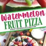 This Watermelon Pizza recipe is a refreshing dessert. No oven is needed for this sweet and delicious no-bake dessert recipe. It is the perfect summer fruit recipe. This fruit pizza recipe is great to serve at a party too.