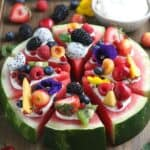 This Watermelon Pizza recipe is a refreshing dessert. No oven is needed for this sweet and delicious no-bake dessert recipe. It is the perfect summer fruit recipe.