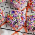 Making Halloween Monster Sprinkle Cookies is easier than you might think. With only 30 minutes of preparation and 10 minutes of baking time, you can have these easy Halloween cookies ready for your loved ones in less than an hour.