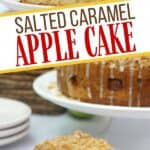 Salted Caramel Apple Cake is moist, fluffy and topped with fresh sweet apples. It is then drizzled with a decadent salted caramel glaze. This easy apple cake recipe is a winner! This simple fall apple dessert won't last long.