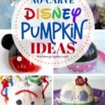 Show your Disney side (and crafty side) this Halloween with these adorable Disney Inspired Pumpkin Ideas! These fun Disney no-carve pumpkin ideas make a great Halloween craft for kids. Pick one or make them all. These Disney Halloween pumpkin ideas feature many of your favorite Disney Characters including Mickey Mouse, Minnie Mouse, Cinderella. The Little Mermaid, Toy Story and more.