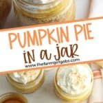 For the perfect easy fall mason jar dessert, this Pumpkin Pie in a Jar recipe is just what you need. Consisting of pumpkin puree and several other easy-to-find ingredients that you likely already have at home, this fall favorite is easy to make and delicious to taste. This pumpkin mason jar recipe is a tasty twist on the classic pumpkin pie recipe. This fall dessert is also a delicious Thanksgiving dessert recipe too.