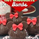 Create your own Disney hot chocolate bombs at home. These Minnie Mouse Hot Cocoa Bombs are the perfect way to warm up. Share some and enjoy some for the perfect warm-up. This Hot Chocolate Bombs Recipe is rich and filled with hot chocolate mix and marshmallows. Disney fans will love making this fun Disney recipe at home.
