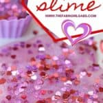 You and your kids will LOVE making this easy DIY Valentine's Day Slime project. This easy Valentine's Day Craft is a lot of ooey-gooey fun. This kids craft makes a great party favor too! Learn how to make this easy slime recipe for kids. #Slime #ValentinesDay #Crafts #DIY #Kids #KidsCrafts #PartyIdeas