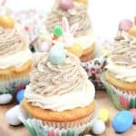 These Easter Egg Malt Cupcakes are a fun Easter cupcake recipe the whole family will enjoy. These cupcakes are easy to decorate and made with the classic malted easter eggs (or Whoppers).