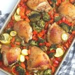 Want to make a delicious mess-free meal that is good for you? Try this health Sheet Pan Chicken Dinner consisting of chicken thighs, broccoli, carrots, and more! You will love this easy weeknight meal idea.