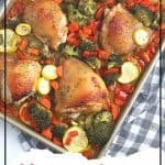 Want to make a delicious mess-free meal that is good for you? Try this health Sheet Pan Chicken Dinner consisting of chicken thighs, broccoli, carrots, and more! You will love this easy weeknight meal idea. This Sheet Pan Chicken recipe is a hit.