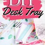 This simple DIY fabric tray is a fun sewing project you can make in just a few minutes. This easy craft project is perfect to display on your desk and use for home organization.