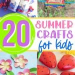 """Cure summer boredom. This list of top Summer Kids Crafts will keep the littles will keep your children busy and entertained all summer long! When you hear """"I'm bored"""", whip out this handy list for fun summer crafts for kids. From painting to paper crafts, this list of easy kids' crafts will keep them busy."""