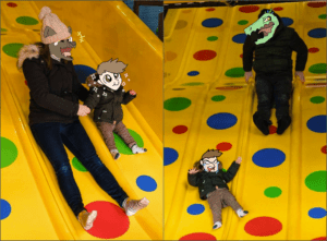 shitpost - a tol and smol sliding down a fun slide, and then another tol and smol failing at such a task