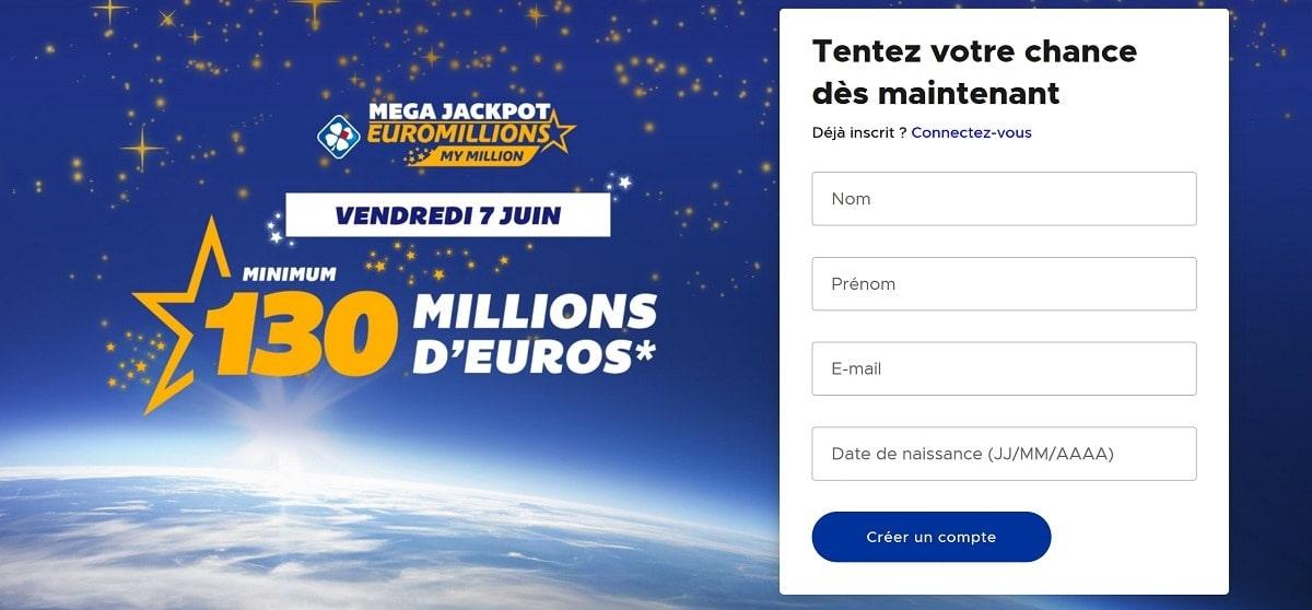 inscription méga jackpot Euromillions du vendredi 7 juin 2019