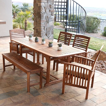 3. Solid Acacia Wood Patio Dining Set