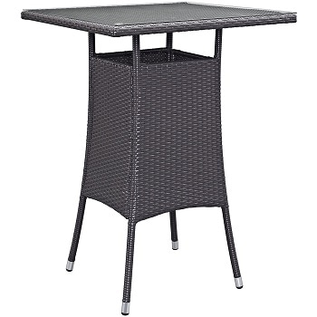6. Modway Convene Small sized Outdoor Patio Bar Table, Espresso