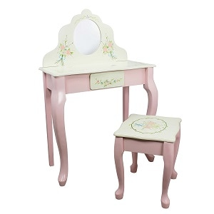 5. Fantasy Fields Bouquet Thematic kids Classic Vanity Table and Stool set.