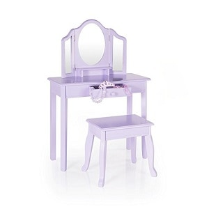 7. Guidecraft Vanity Table and Stool Set with Mirror.