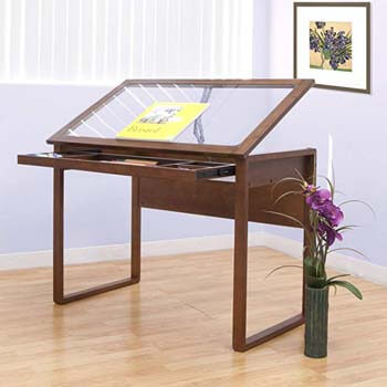 9. Offex Ponderosa Glass Topped Table/Sonoma Brown