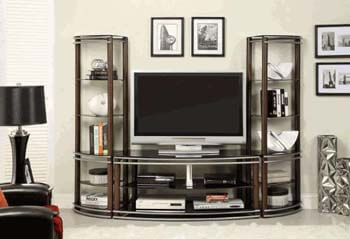 5. Contemporary Black Tempered Glass 2 Pier Brown & Silver Entertainment Center Wall Unit