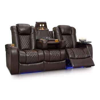2. Seatcraft Anthem Home Theater Seating Leather Multimedia Power Recline Sofa